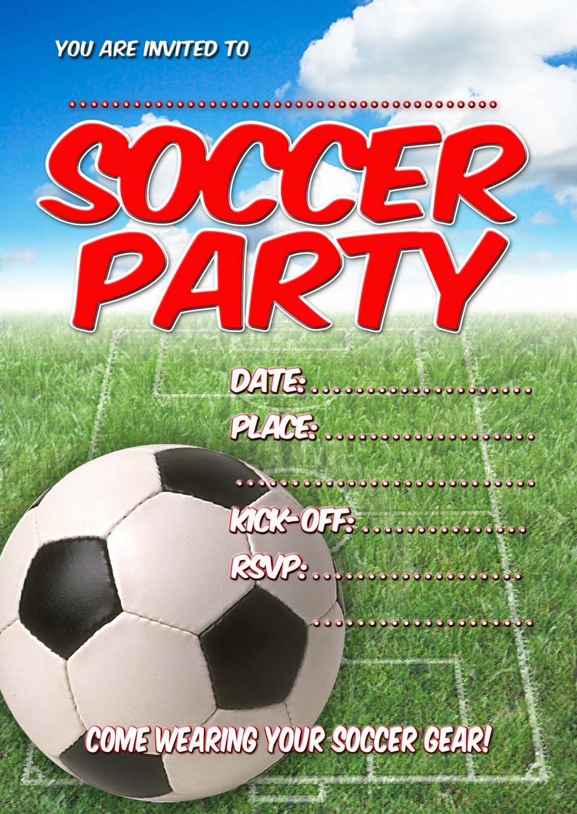 Free Kids Party Invitations  Soccer Party Invitation