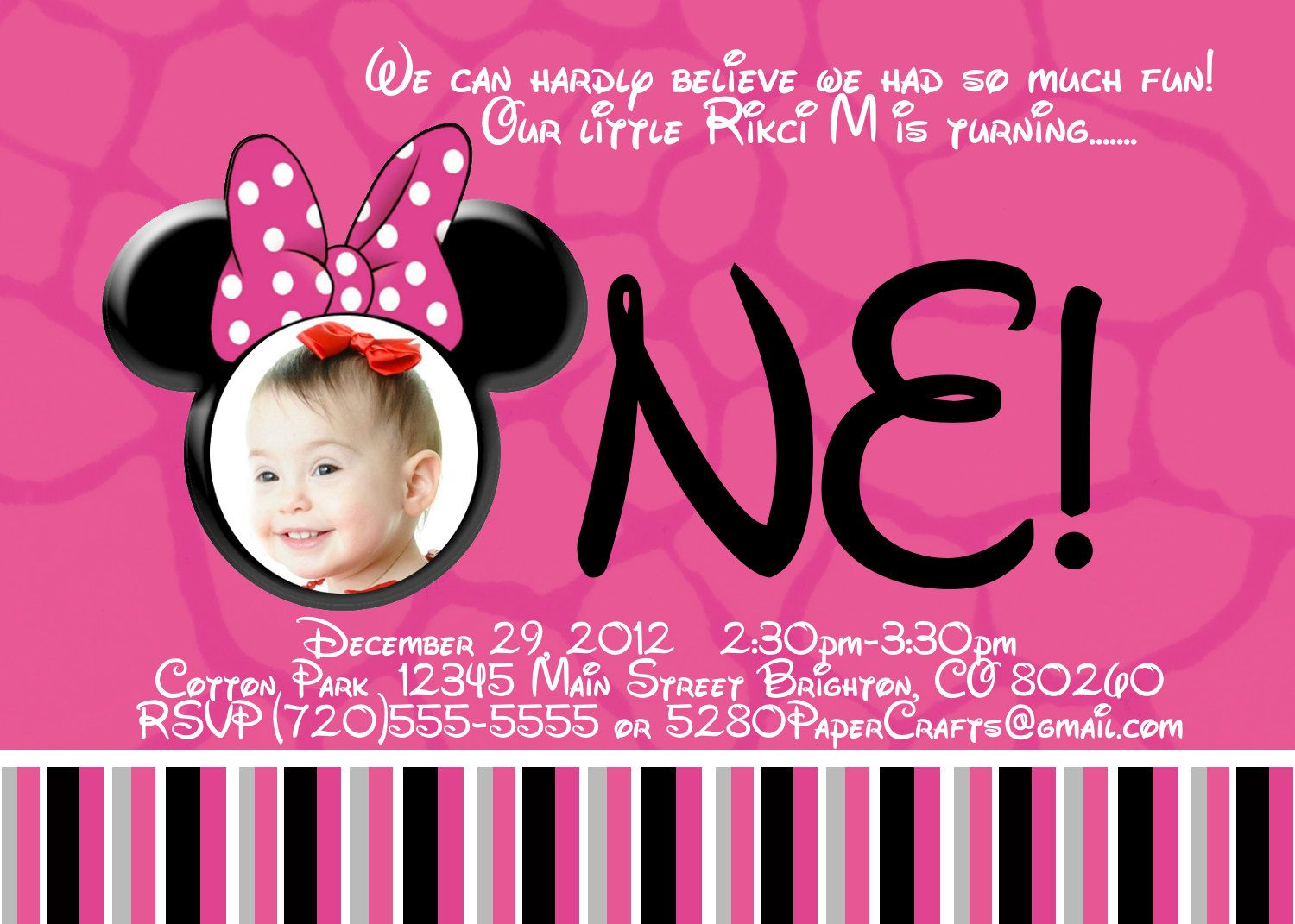 Disney Minnie Mouse 1st Birthday Invite Diy Printing Custom