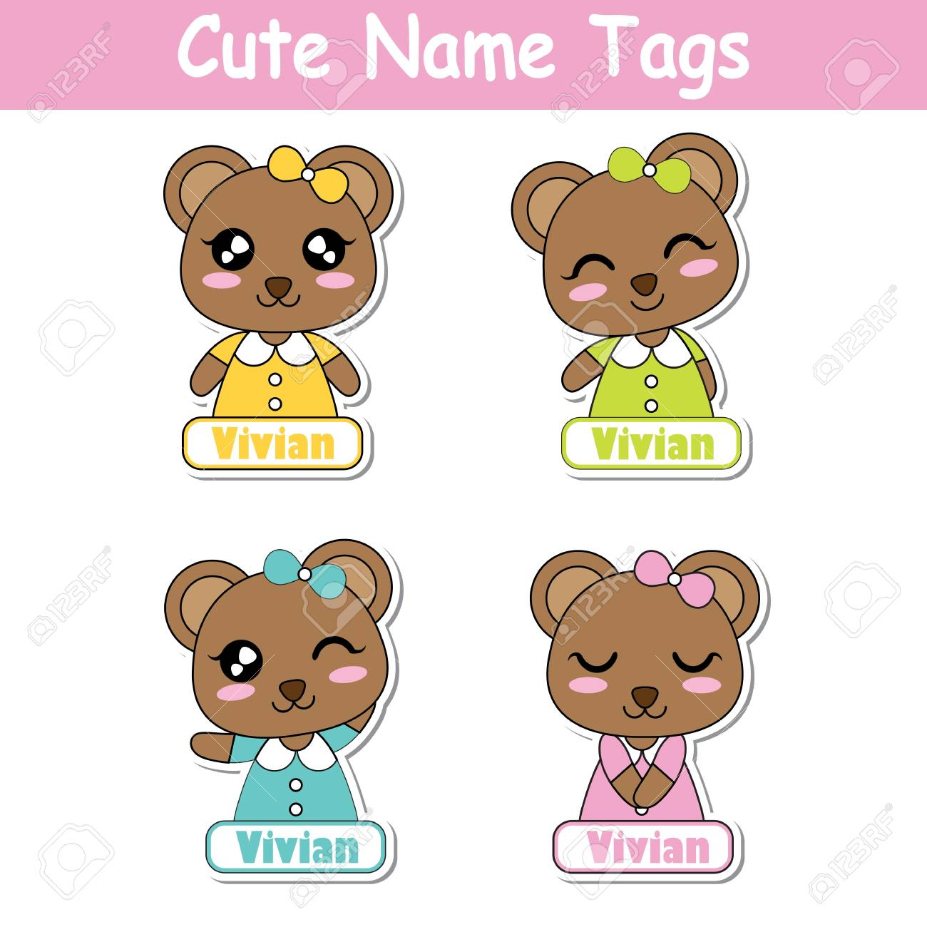 Vector Cartoon Illustration With Colorful Cute Bear Girls Suitable