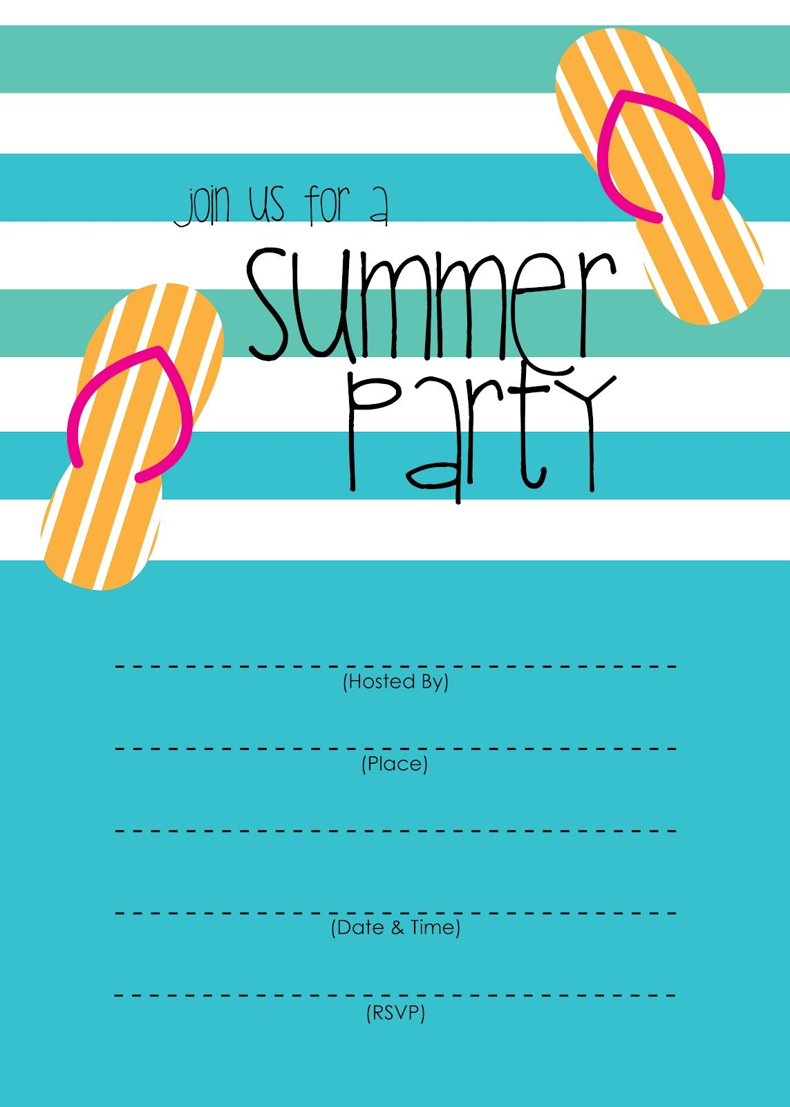 Summer Party Invitation – Free Printable