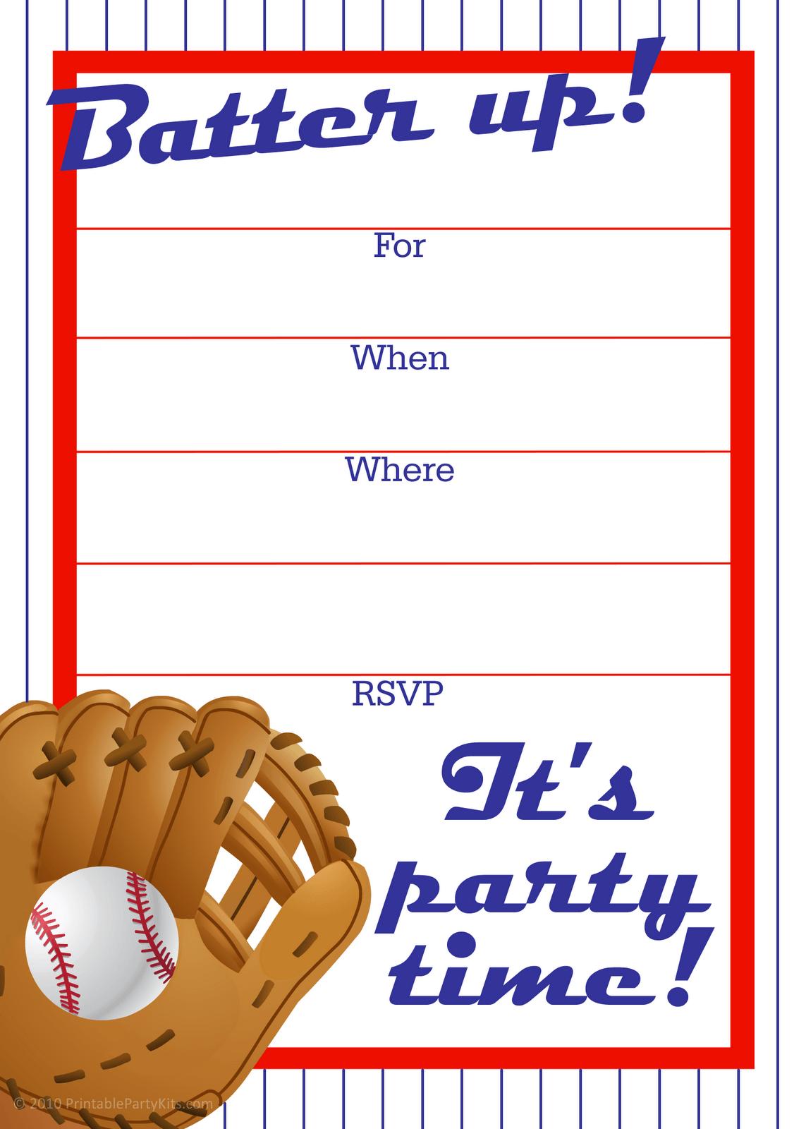 Free Printable Baseball Party Invitation