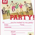 Free Printable One Direction Birthday Party Invitations