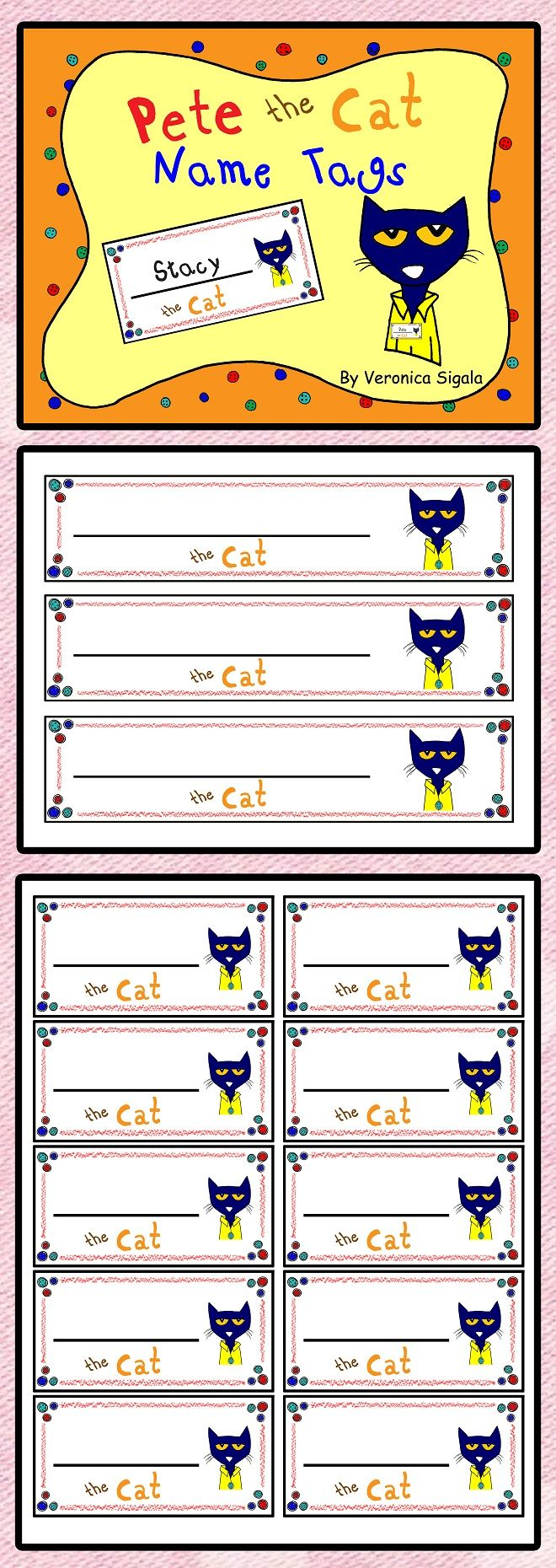 Free! Free! Free! Pete The Cat Name Tags  Your Kiddos Will Love