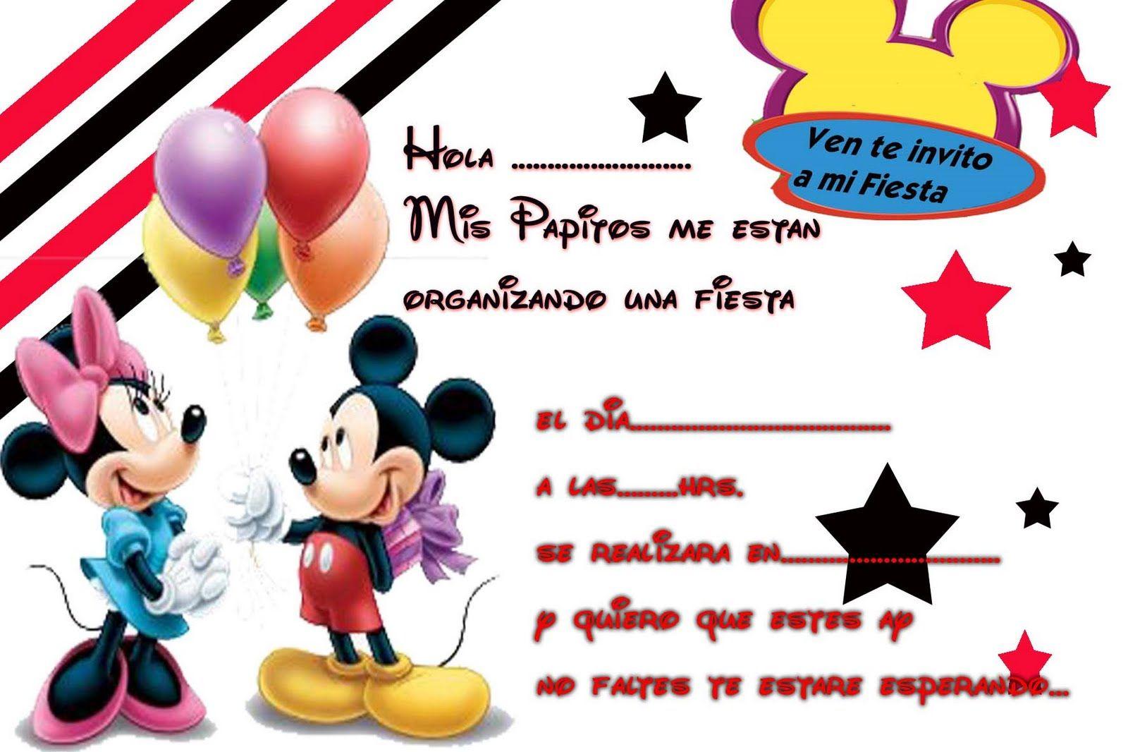 Invitaciones De Cumpleaños Mickey Mouse En Hd Gratis Para