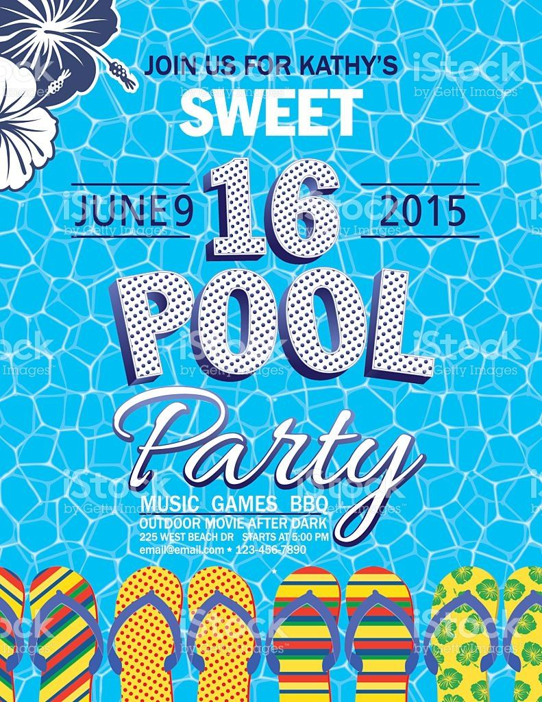 Sweet 16 Pool Party Invitation With One Blue And One White