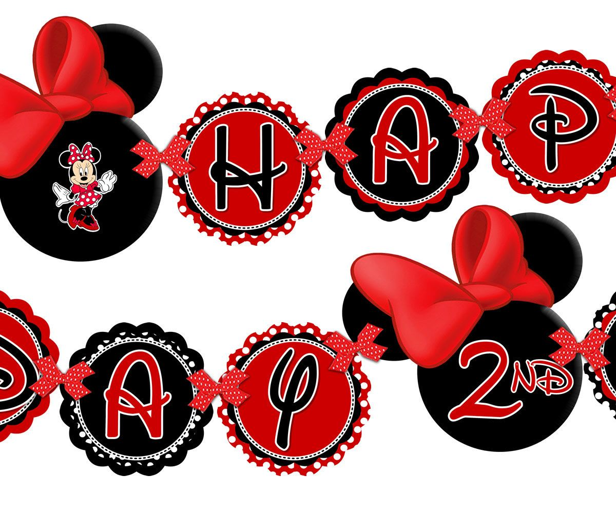Printable Red Minnie Mouse Happy Birthday Banner, Minnie Mouse Red