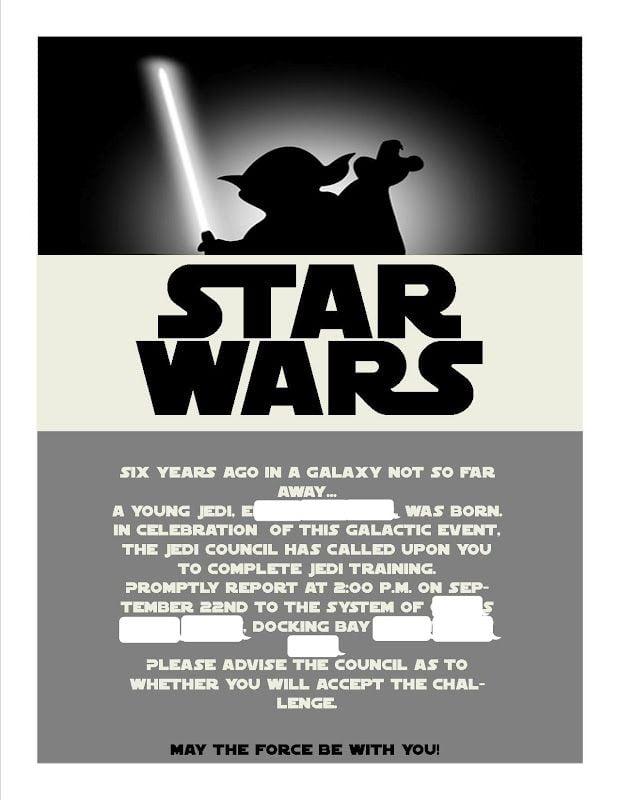 Invitation  Star Wars Invitation Template