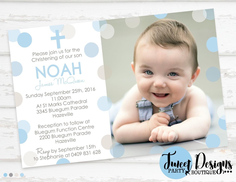Baby Boy Baptism Invitations Christening Invitation Polka Dot Blue