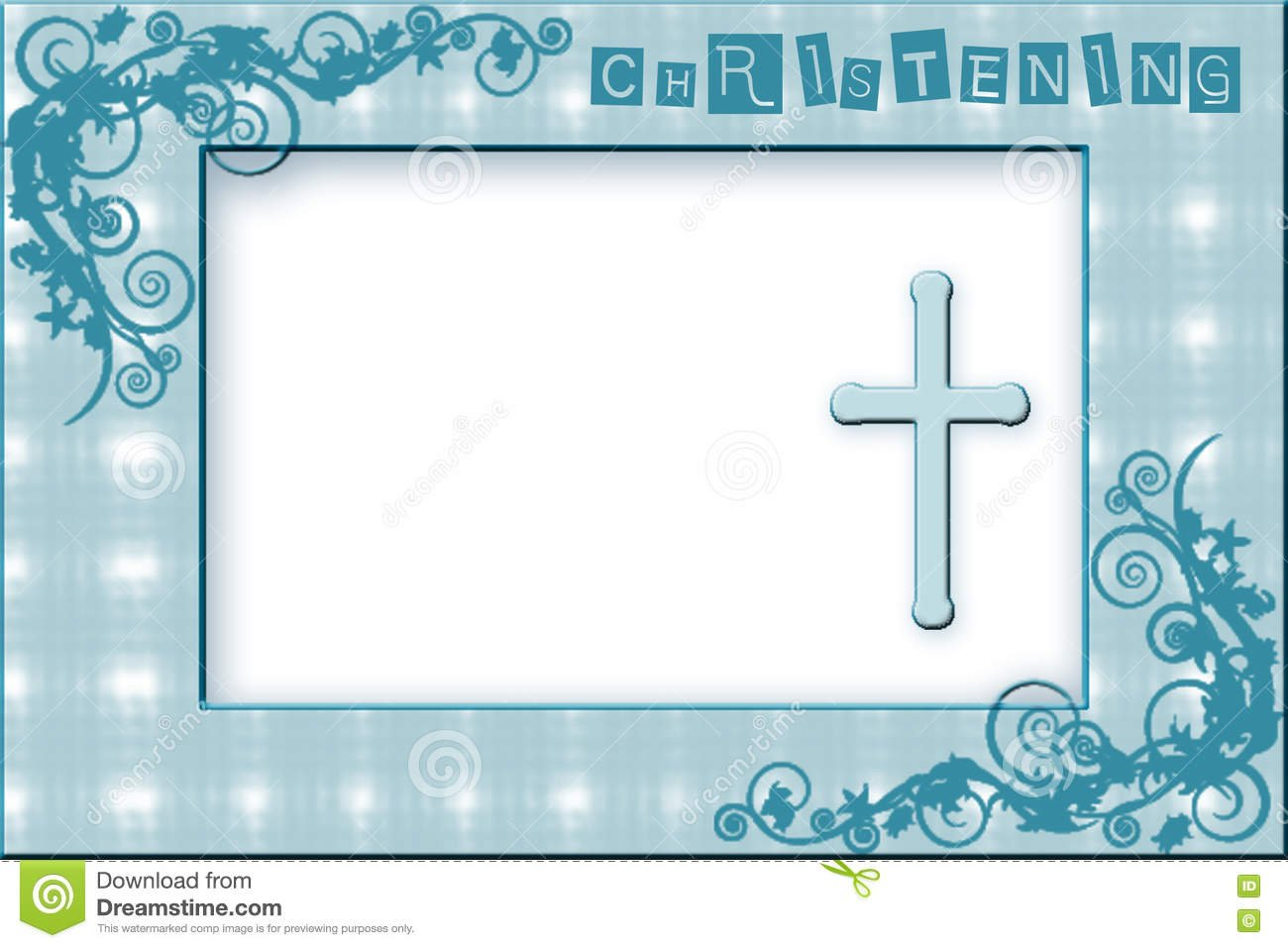 Baby Boy Christening Invitation Stock Illustration