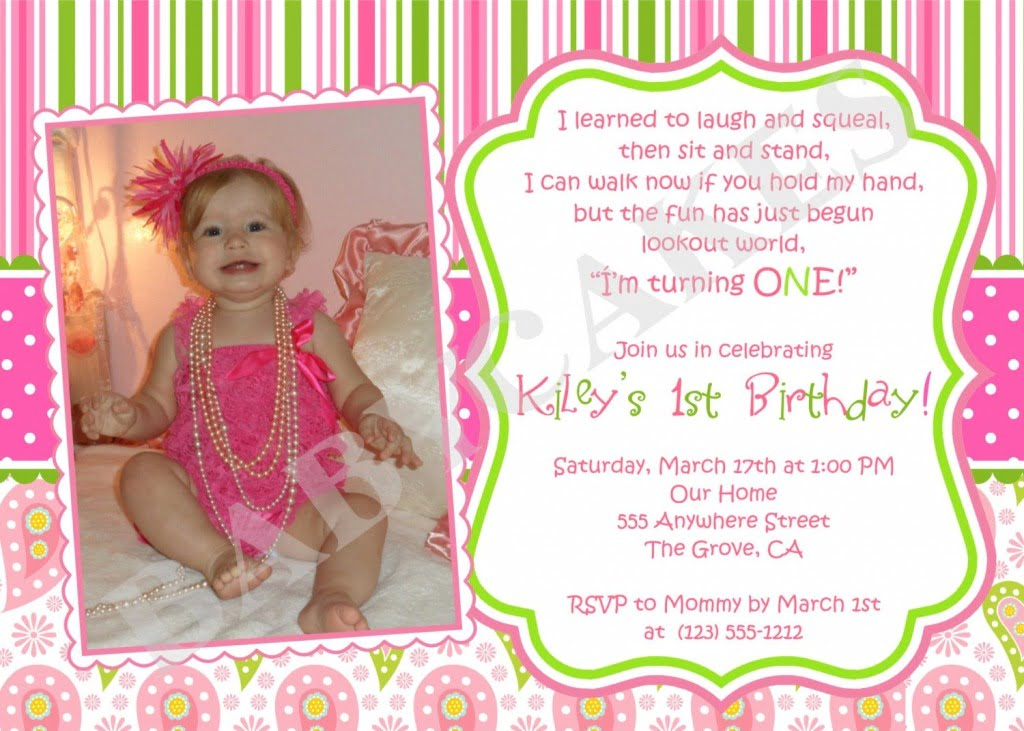 Baby Girl St B Inspirational First Birthday Invitations Girl Free