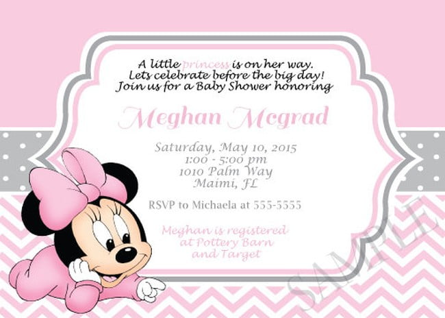 Minnie Mouse Baby Shower Invitations Online Perfect Minnie Mouse