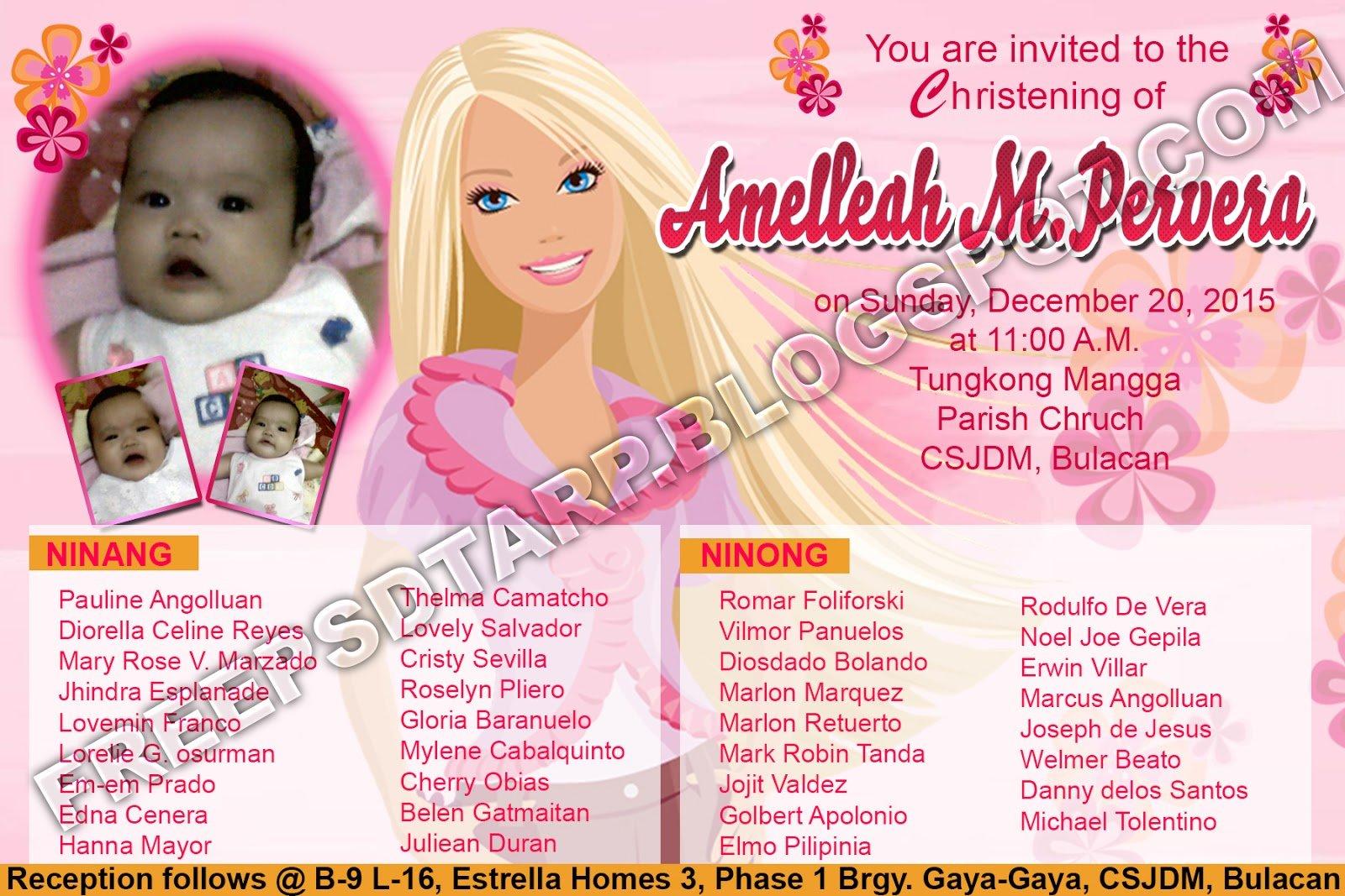 Free Psd Barbie Invitation 4r Size