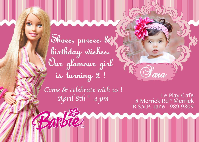 Barbie Birthday Invitation Card Free Printable 2 » Happy Birthday
