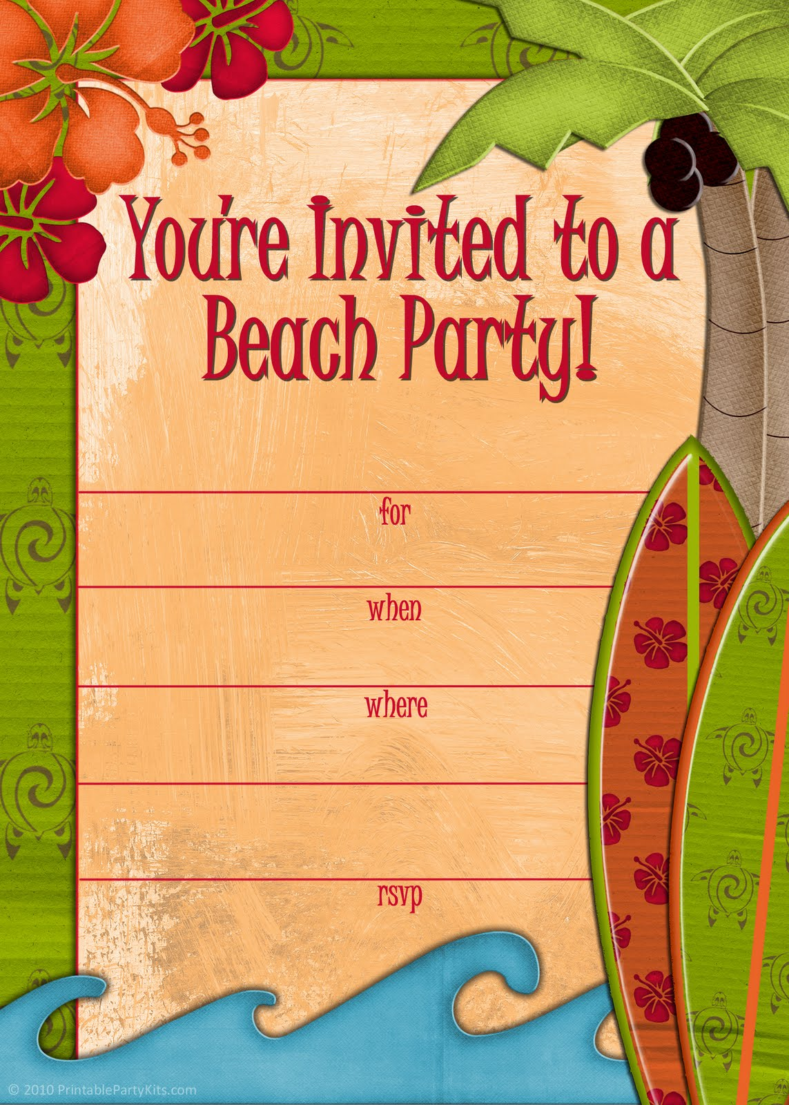 Beach Theme Birthday Invitations — Birthday Invitation Examples