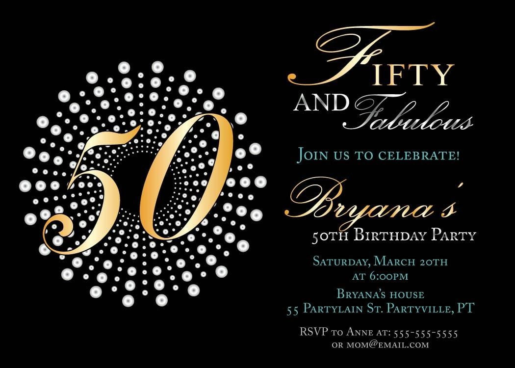 Beautiful 50th Birthday Party Invitations 20 For Free Printable