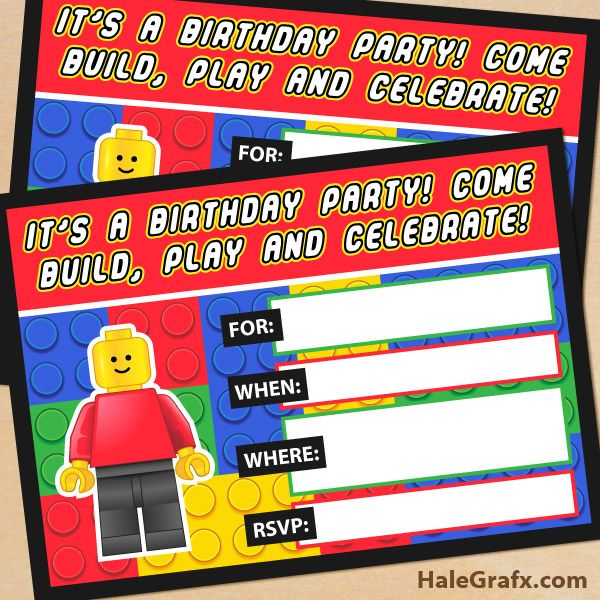 Birthday Invitations  Printable Lego Birthday Party Invitations