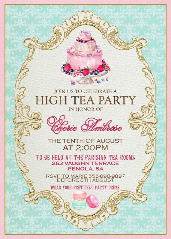 Invitation Template  Afternoon Tea Party Invitation Template