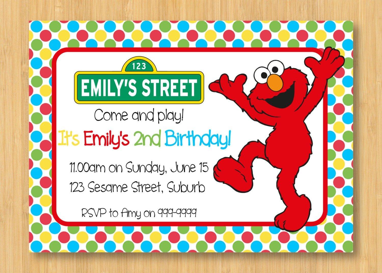 Birthday Funny Elmo Birthday Party Invitation Template With