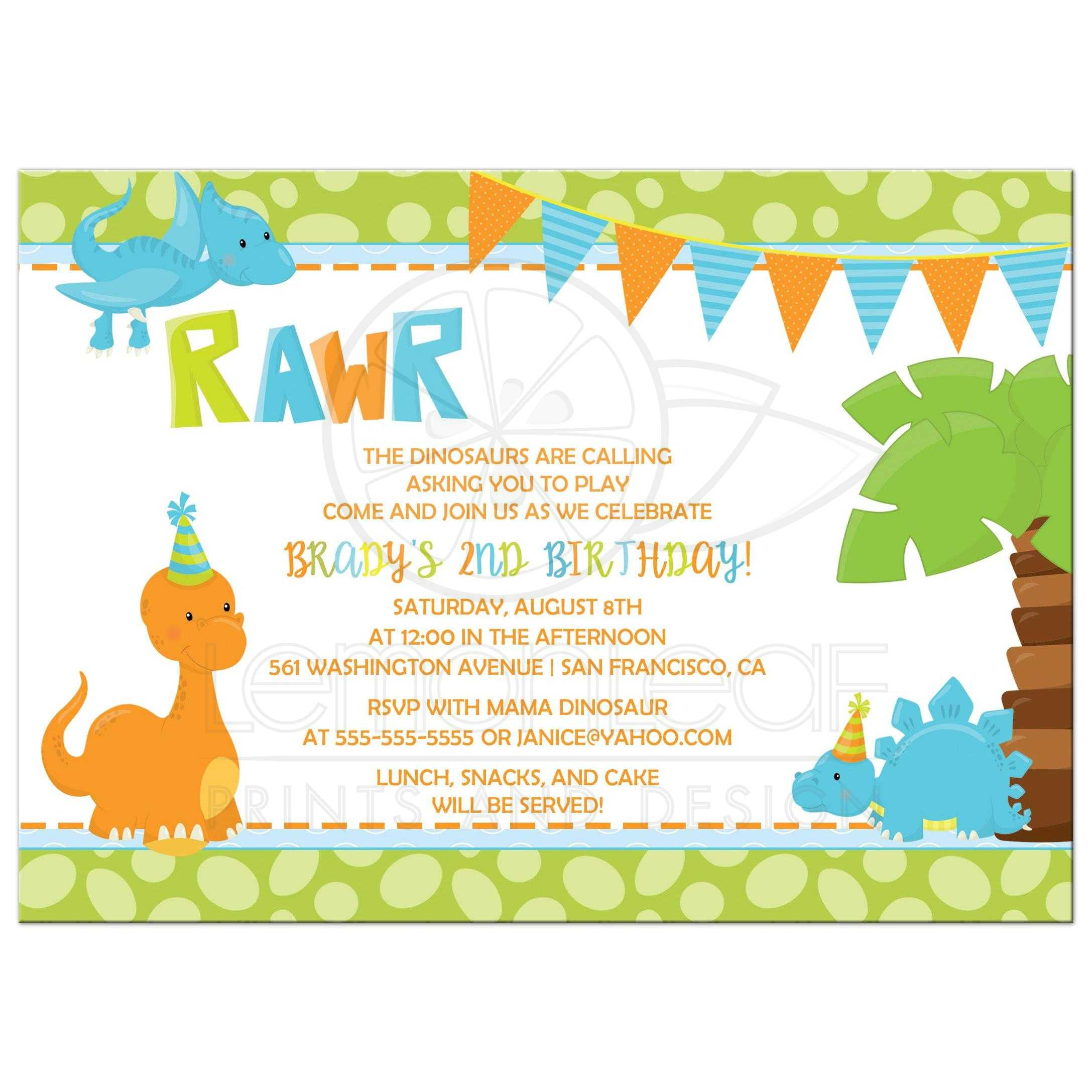 Birthday Party Invitation Unique Dinosaur Party Invitations