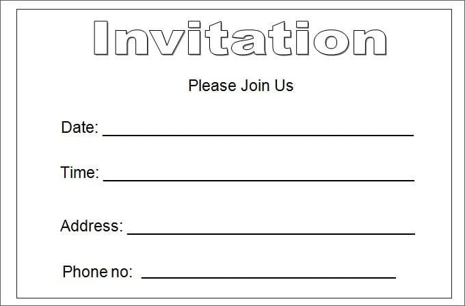 Free Invitation Templates For Excel Fabulous Blank Invitation