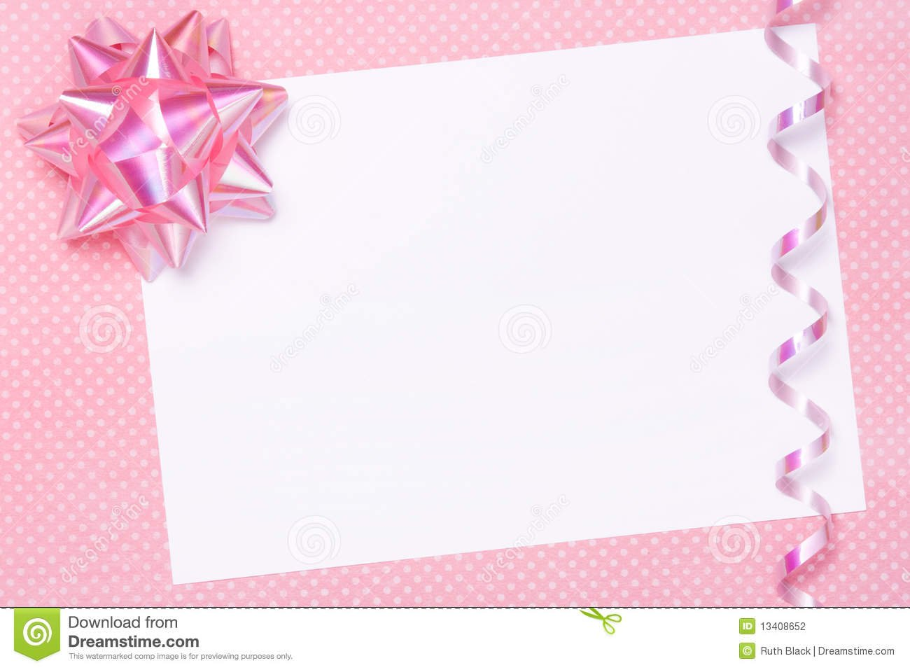 Blank Party Invite Or Gift Tag Stock Photo