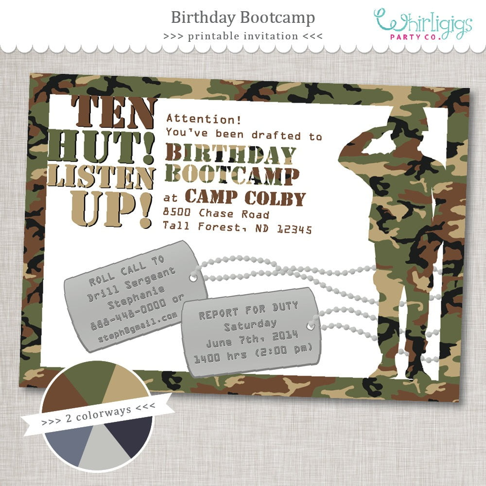 Bootcamp Birthday Army Party Invita Lovely Army Birthday