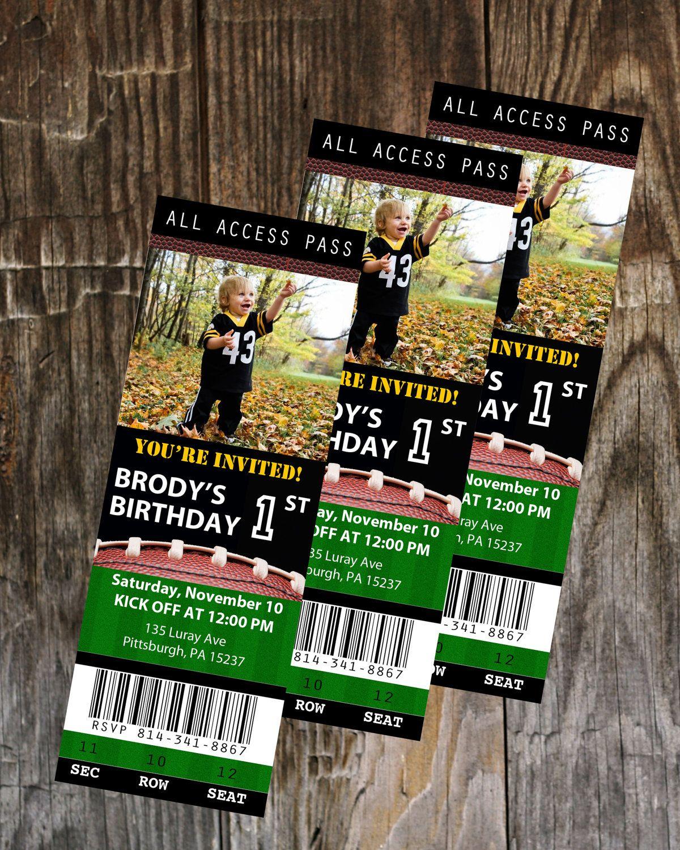 Football Ticket Birthday Invitation, Birthday Party, Template