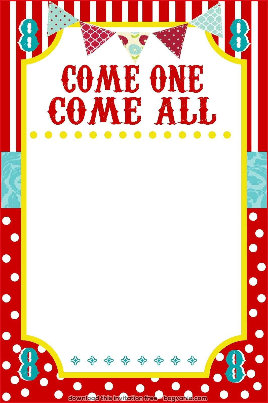 Carnival Birthday Party Invitation Templates Carnival Ticket