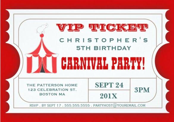 Carnival Ticket Invitation Template Ticket Invitation Templates