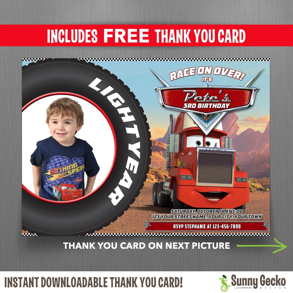 Disney Cars Mack 7x5 In  Birthday Party Invitation With Free