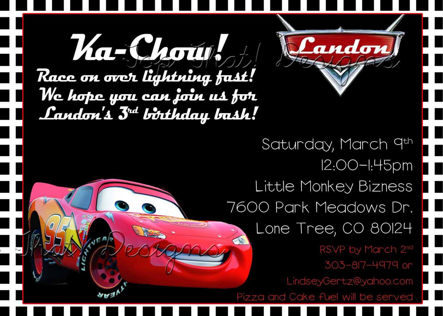 Birthday Invitation Card Car Theme
