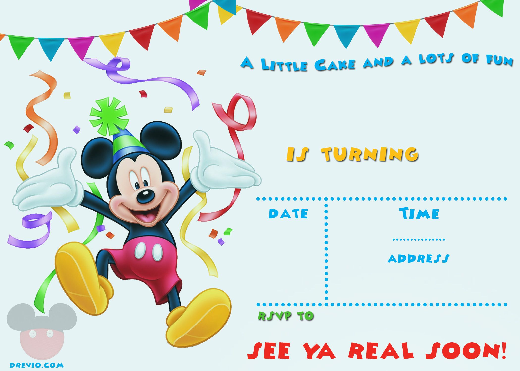 Cefebbcfecfcaeab Lovely Mickey Mouse Birthday Invitation Template