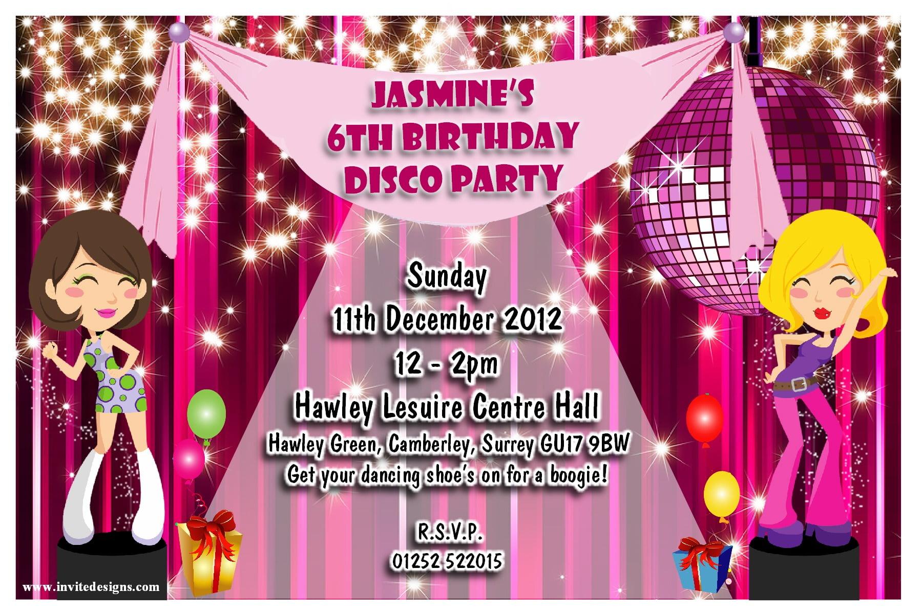 Childrens Disco Party Invitation Template Invitation Letter With