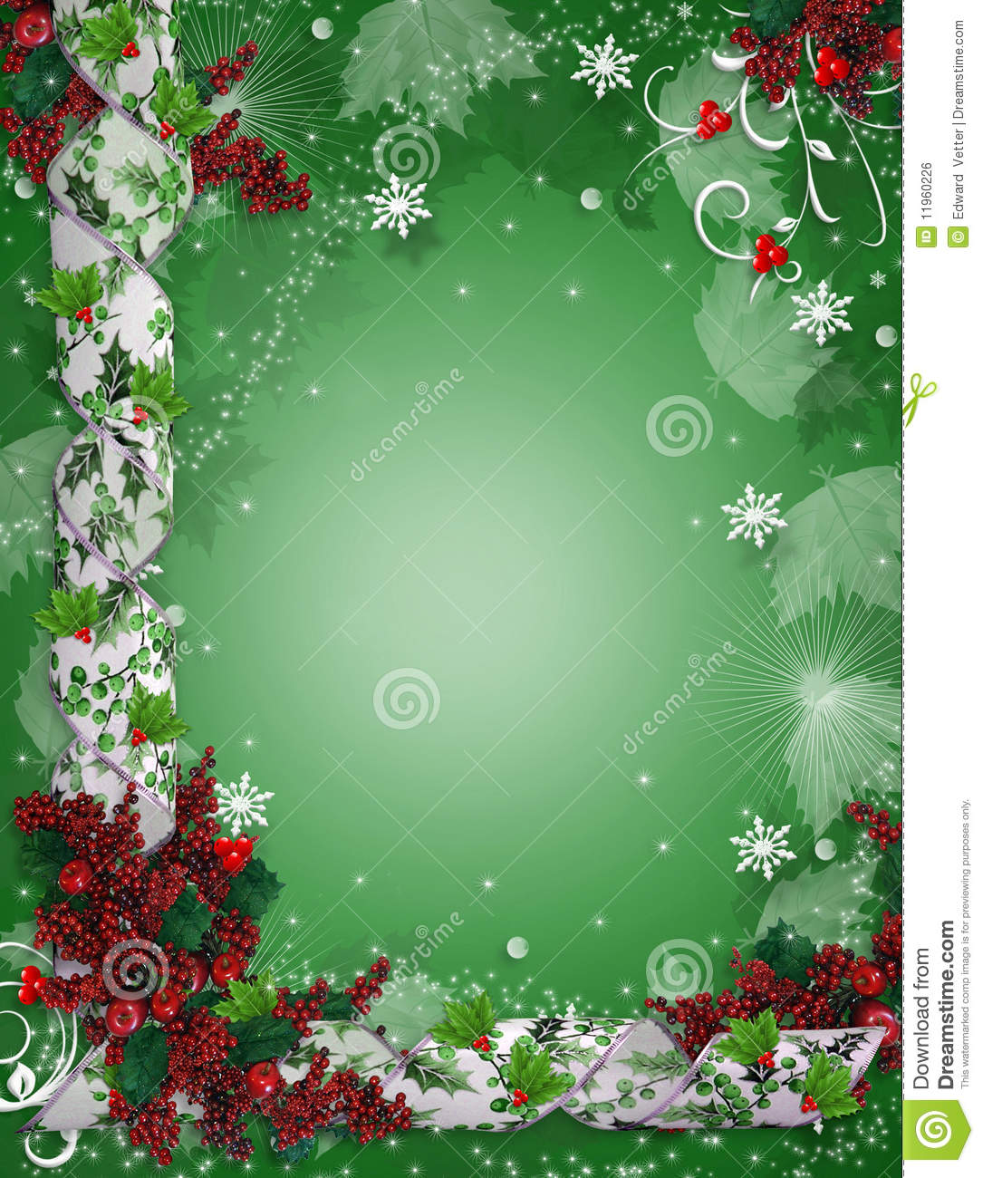 Christmas Border Ribbons Elegant Holly Amazing Blank Christmas