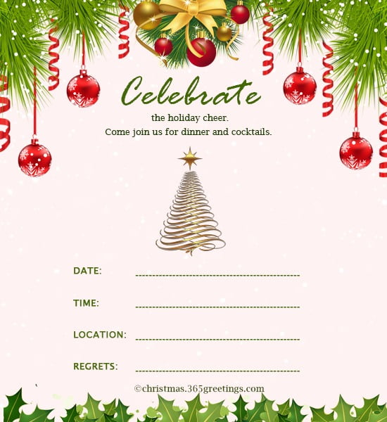 Christmas Dinner Invitation Wordings New Christmas Invitation