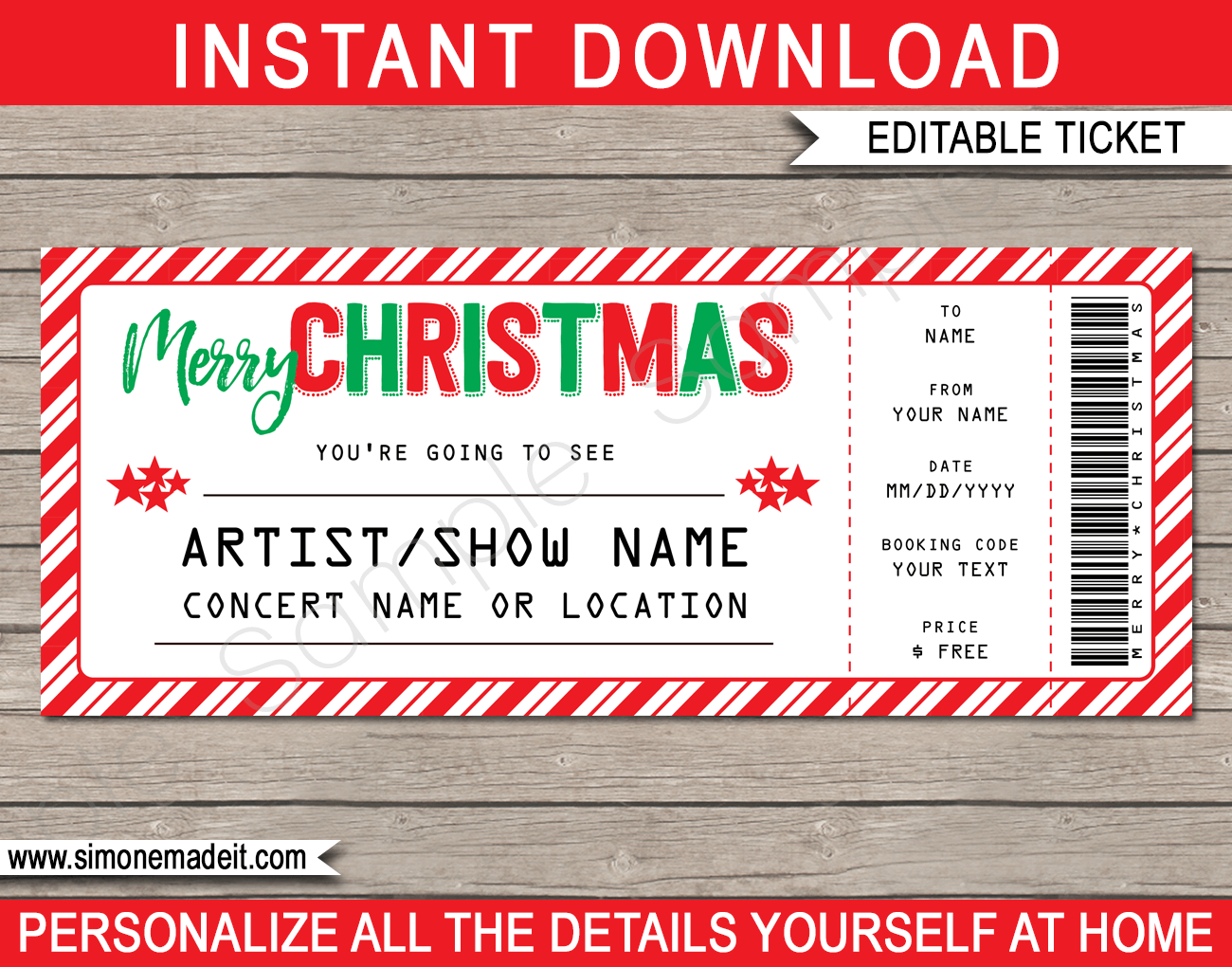 Printable Christmas Gift Concert Ticket Template