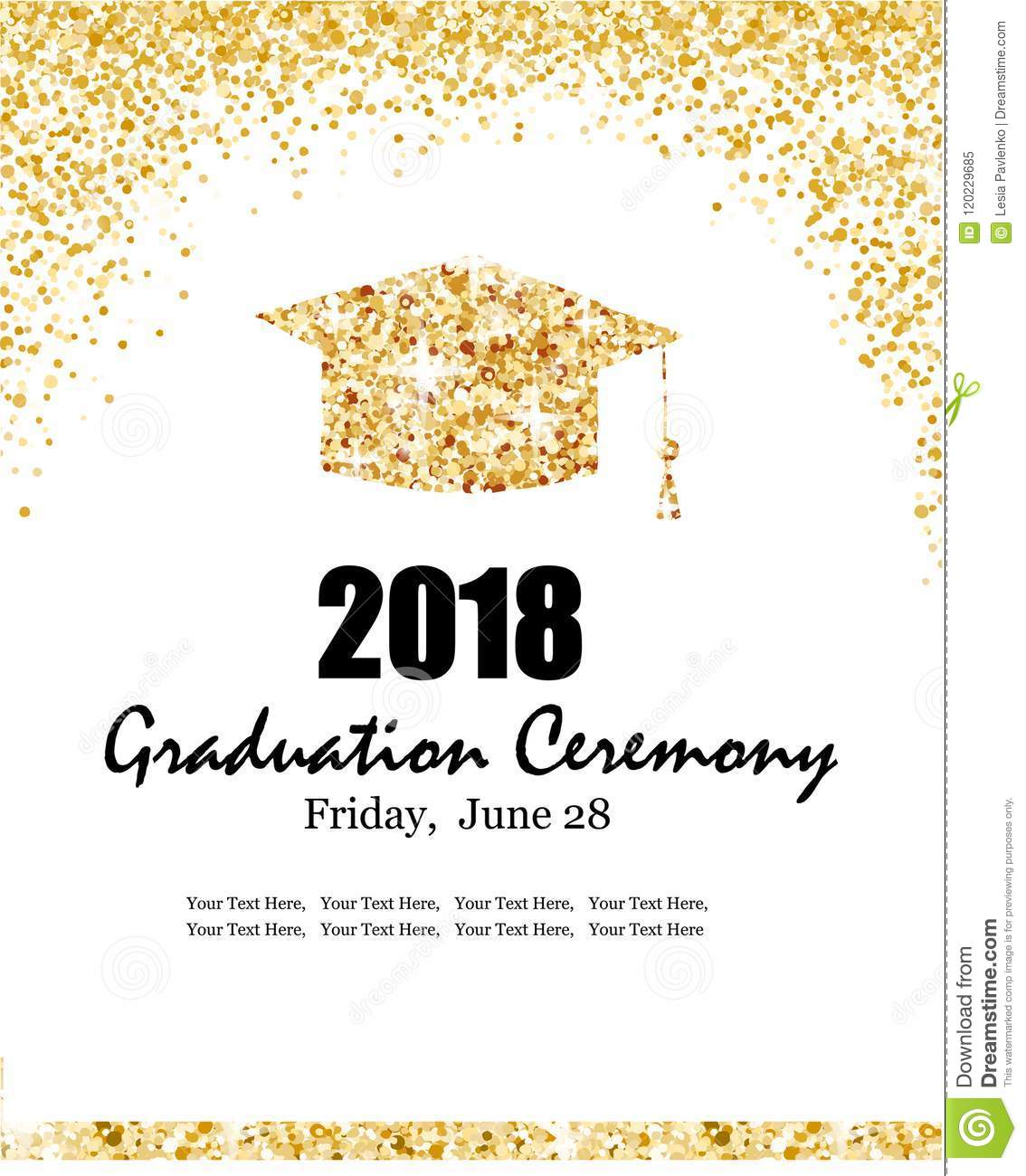 Class Of 2018 Graduation Ceremony Banner Stock Vector