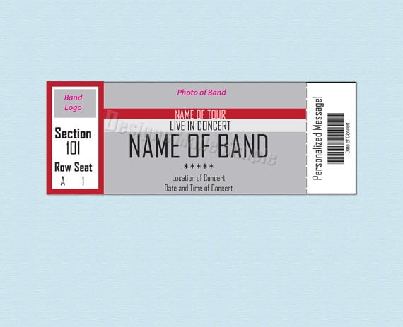 Sizzling image regarding concert ticket template free printable