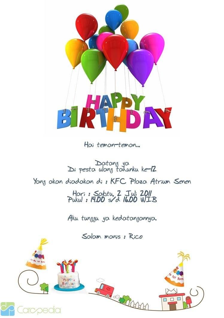 Contoh Invitation Card Happy Birthday