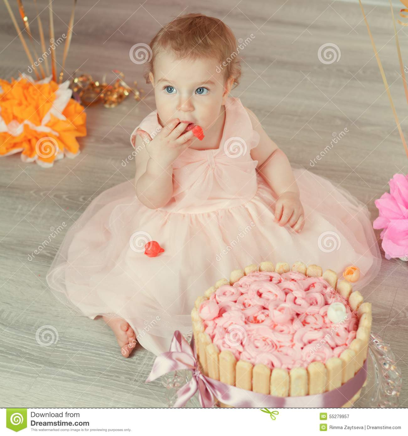 Cute Baby Girl Celebrates Birthday One Year  Stock Image