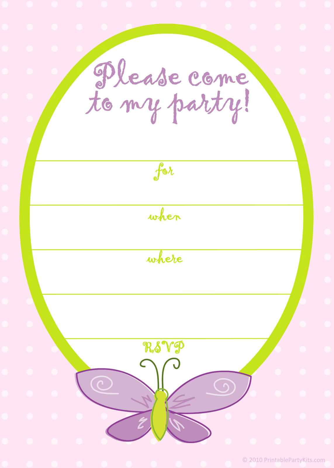 Free Printable Party Invitations  Free Pink Butterfly Girls