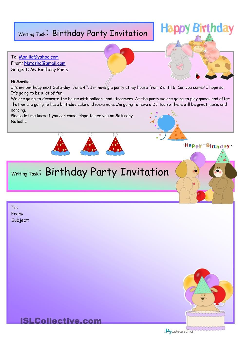 Creative Writing  Birthday Party Invite  16 A1 Level