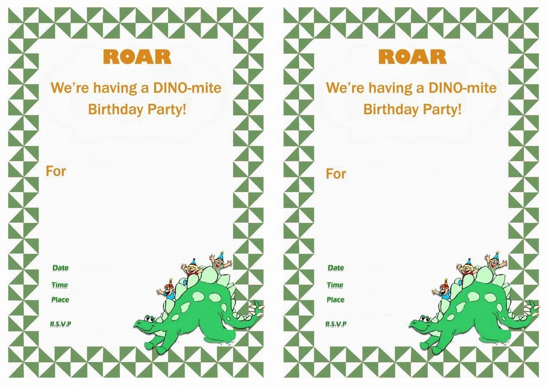Dinosaur Birthday Invitations Cool Free Printable Dinosaur
