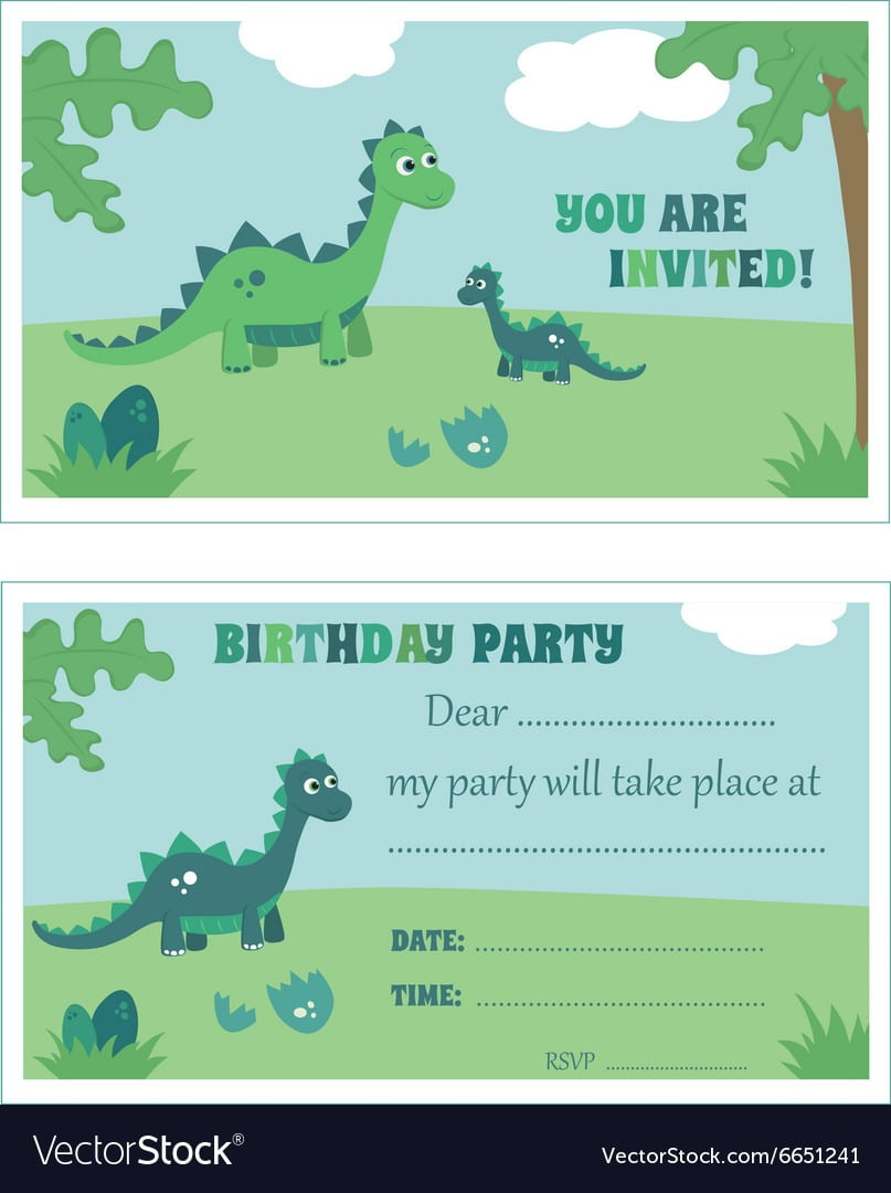 Dinosaur Birthday Party Invitation Royalty Free Vector Image