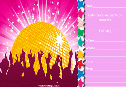Party Invitation Template Disco Party Invitations Free Birthday