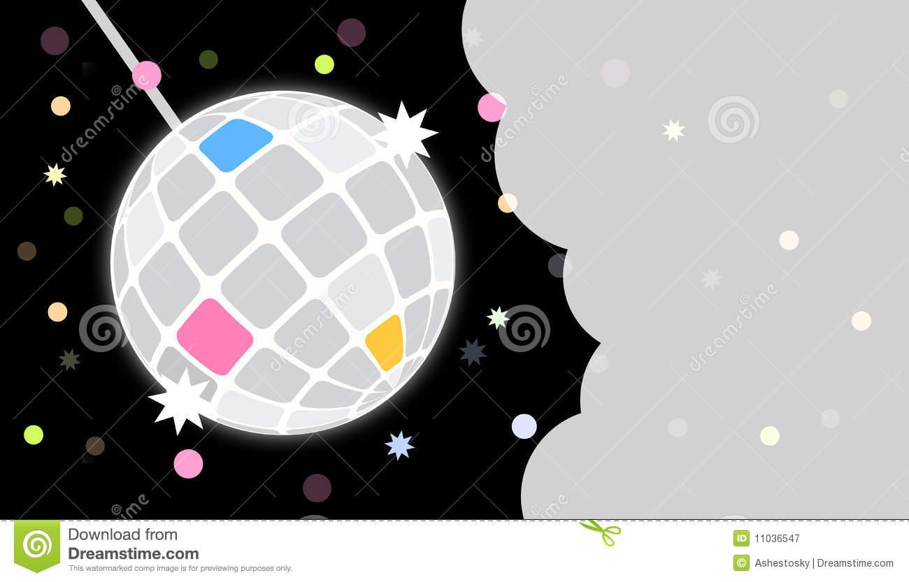 Disco Party Invite Card Template Stock Vector
