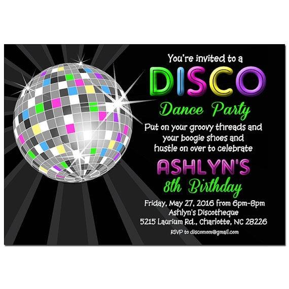 Invitation  Disco Theme Party Invitations Free
