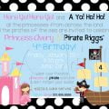 Free Printable Party Invitation Princesses And Pirates