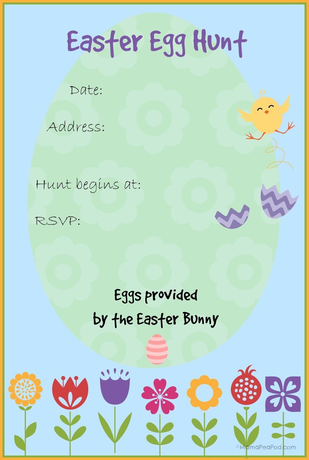 Mama Pea Pod  {free Printable Easter Egg Hunt Invitation}