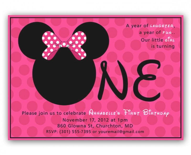 Editable Minnie Mouse Birthday Invitations Ideal With Editable